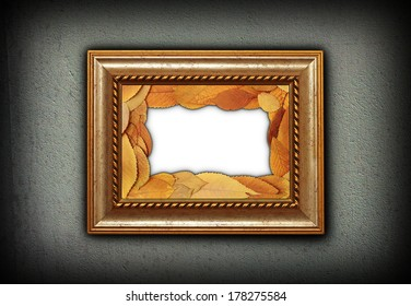 beautiful wooden painting frame with leaves decoration inside for your autumn message