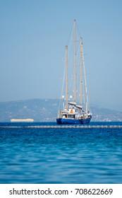 Beautiful wooden sailing yacht near Athens, Greece