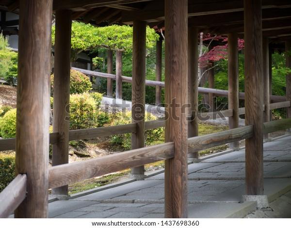 Beautiful wooden Tsutenkyo bridge of Tofukuji temple in the south of Kyoto, Japan