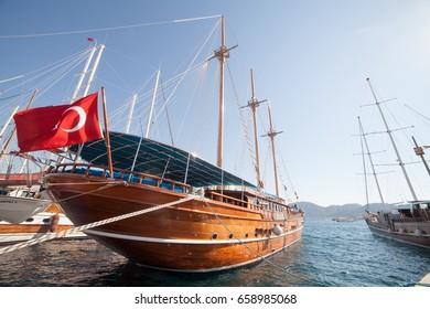 Beautiful wooden yacht. Marmaris port