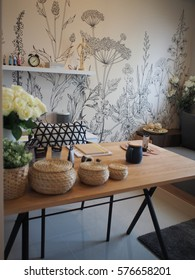 Beautiful Working room.beautiful wallpaper decorative..