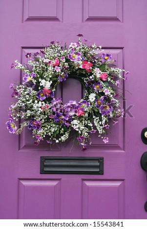 Beautiful Wreath On Purple Door Stock Photo Edit Now 15543841