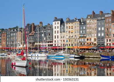 Beautiful yachts at the Honfleur harbor