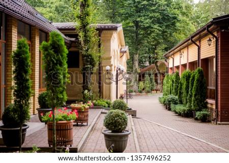 Beautiful Yard With Landscape Design,Luxury Landscape Design Of The  Tropical Garden. Beautiful View