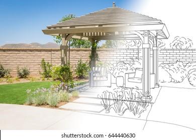 Beautiful Yard Pergola Patio Cover Drawing Transitioning to Photo Reality.