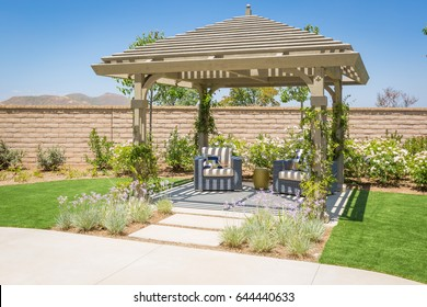 Beautiful Yard Pergola Patio Cover with Chairs.
