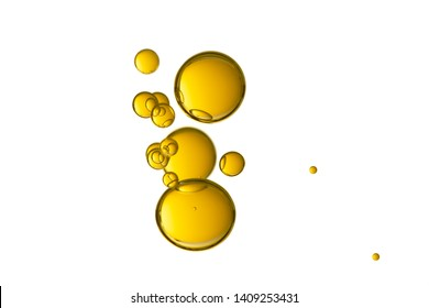 Beautiful yellow drops isolated over a white background.