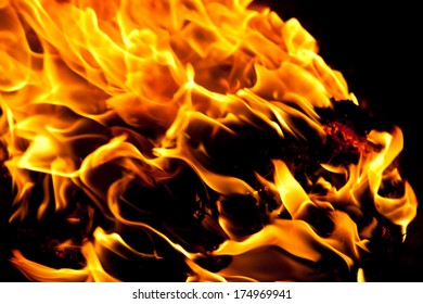 Beautiful yellow and orange hot fire on black background