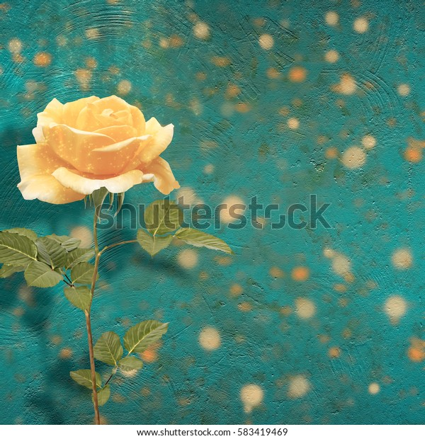 Beautiful yellow rose with green leaves on the abstract multicolored background