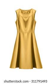 Beautiful yellow sleeveless dress isolated over white