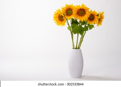 Beautiful yellow sunflowers in a vase on a white background.