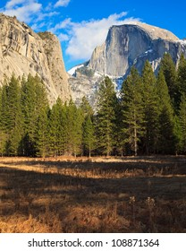 Beautiful Yosemite Valley with Half Dome in the distance.