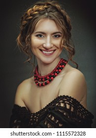 Beautiful young adult woman with charming smile. Retro style female portrait