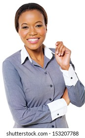 beautiful young african american businesswoman posing on white background