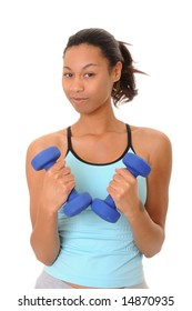 Beautiful young african american girl doing a fitness workout with weights