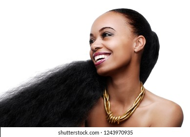 Beautiful young African American woman with very long natural hair