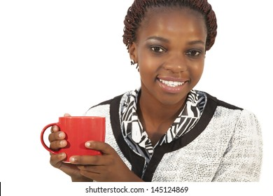 Beautiful young african woman holding a cup of coffee, isolated on white