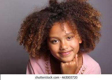 Beautiful young afro girl