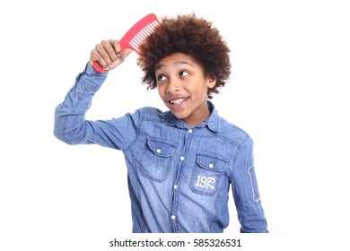 Beautiful young afro schoolboy