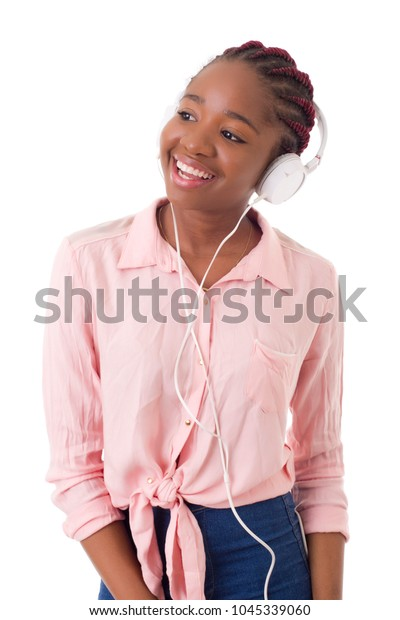 beautiful young afro woman listening music, isolated