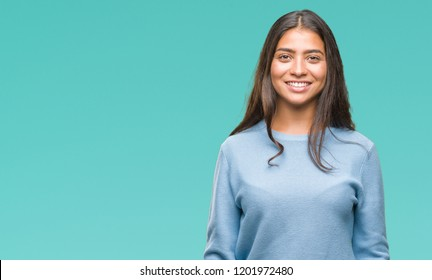 Beautiful young arab woman over isolated background