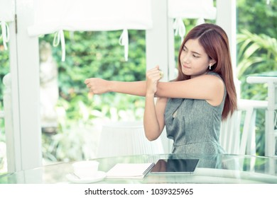 Beautiful young asian business woman is relax stretch in outdoor, businesswoman break and relax stress, girl and health concept.
