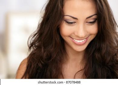 Beautiful young asian caucasian woman portrait