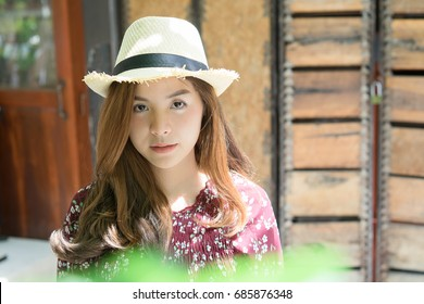 beautiful young asian girl have a happy time alone