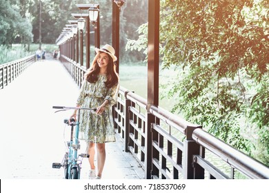beautiful young asian girl have a happy time alone , vintage tone