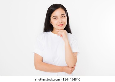 Beautiful young asian girl in summer t shirt isolated on white background. Nature beauty face makeup. Copy space.
