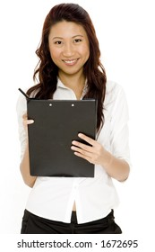 A beautiful young asian office worker with clipboard