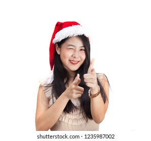 Beautiful young asian woman with blank white board isolated on white background