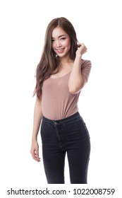 Beautiful young asian woman in bodysuit and black jeans, isolated on white background