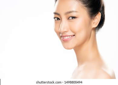 Beautiful Young Asian Woman with Clean Fresh Skin. Face care, Facial treatment, Cosmetology, beauty and spa,