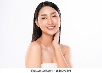 Beautiful Young Asian Woman with Clean Fresh Skin. Face care, Facial treatment, Cosmetology, beauty and healthy skin and cosmetic concept, woman beauty skin isolated on white background.