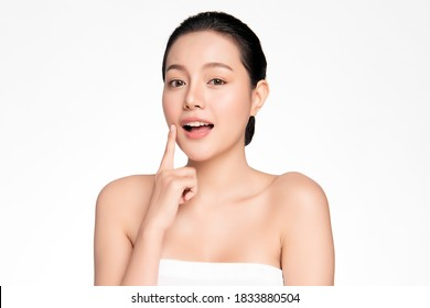 Beautiful young asian woman with clean fresh skin on white background, Face care, Facial treatment, Cosmetology, beauty and spa, Asian women portrait