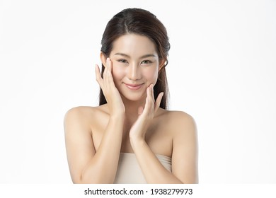 Beautiful young asian woman with clean fresh skin on white background, Face care, Facial treatment, Cosmetology, beauty and spa, Asian women portrait.