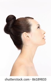 Beautiful young Asian woman hairstyle