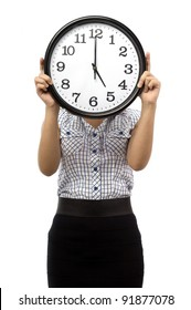 Beautiful young asian woman hold a clock cover her face show time at five o clock isolated white background