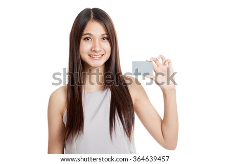Beautiful young Asian woman hold a blank card  isolated on white background