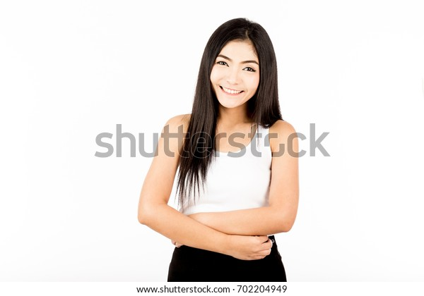Beautiful young Asian woman smile with black hair,Isolated on white background