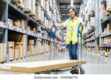 Schöne junge asiatische Mitarbeiterinnen, die den Trolleywagen schieben oder den Warenkorb aussuchen, um die Dinge im Lagerhaus mit unscharfem Hintergrund der Schachteln auf dem Regal zu arrangieren