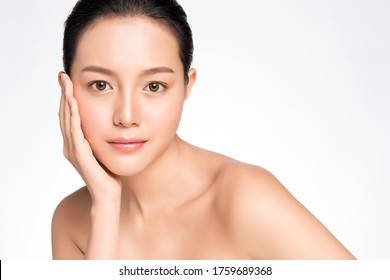 Beautiful Young asian Woman touching her clean face with fresh Healthy Skin, isolated on white background, Beauty Cosmetics and Facial treatment Concept,