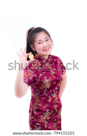 857301ae9 Beautiful Young asian woman wearing chinese dress traditional cheongsam or  qipao with hand holding golden Bitcoin