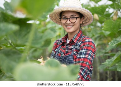 Beautiful young asian women agriculture concept