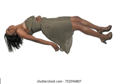Beautiful young black woman floating in the air