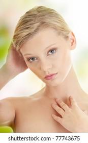 Beautiful young blond caucasian woman portrait