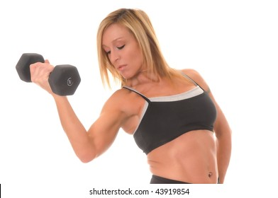 Beautiful young blond lady doing a fitness workout