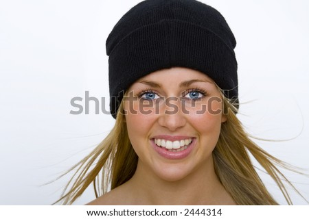 Beautiful Young Blond Woman Black Beanie Stock Photo (Edit Now ... d3bbe645476