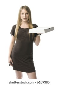 Beautiful young blond woman holding a pizza box.
